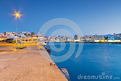 Harbor of Agios Nikolaos at night on Crete