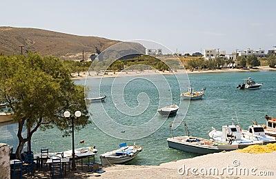 Harbor beach Pollonia Milos Cyclades Greek island