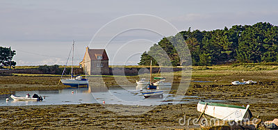 Harbor in Bretagne at low tide time