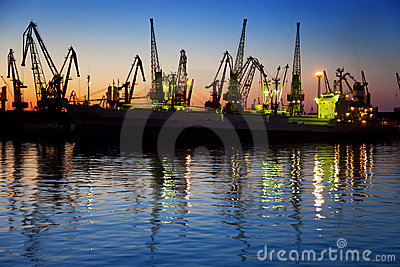Harbor / Cargo / Silhouette of  Cranes at Sunset