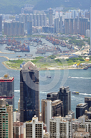 Harbor and city landscape of Hongkong Editorial Photo