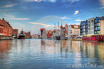 Harbor with crane in old town of Gdansk