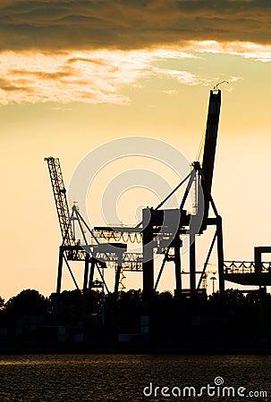 Harbor crane silhouettes