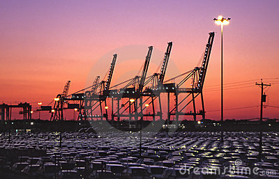 harbor cranes and imported autos