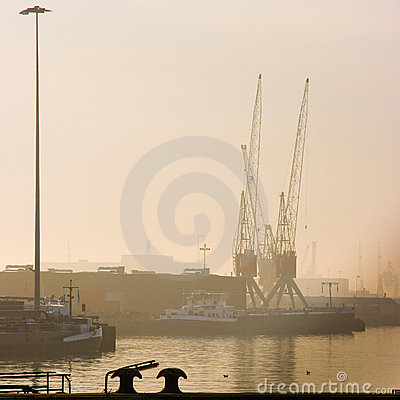 Harbor with cranes - square cropped