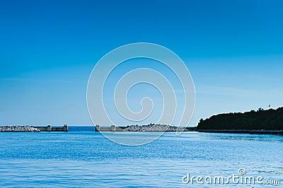 Harbor gate at Adriatic sea. Vrsar, Croatia