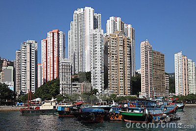 Harbor in Hong Kong Aberdeen Editorial Stock Photo