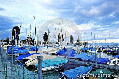 Harbor in Lake of Constance ship boat blue sk