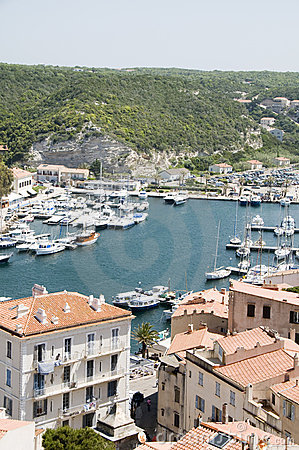 Harbor marina lower town Bonifacio Corsica