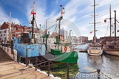 Harbor at Motlawa river in Gdansk