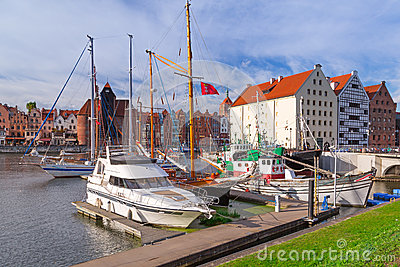 Harbor at Motlawa river in Gdansk