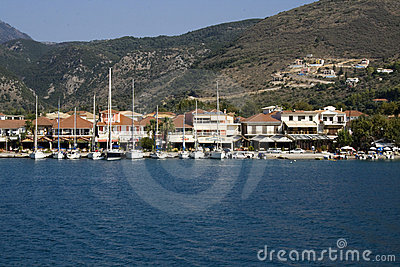 Harbor of Nidri in Lefkada, Greece.