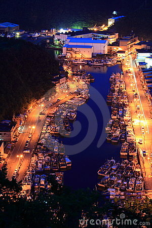 Harbor at night Editorial Stock Photo