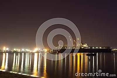 Harbor at night.