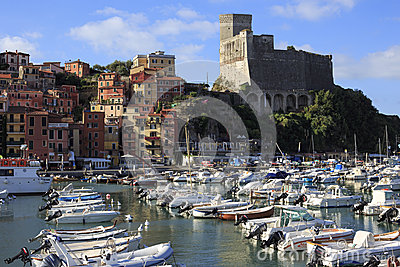 Harbor and old town of lerici Editorial Stock Photo