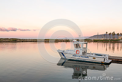 Harbor Patrol boat docked Ventura harbor dawn Editorial Stock Photo