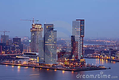 The harbor from Rotterdam by night in Netherlands