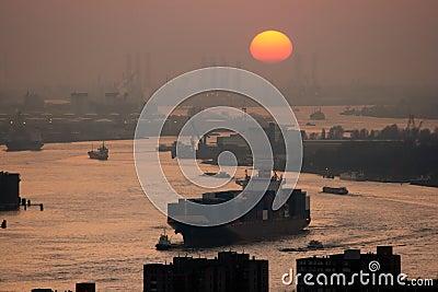Harbor Rotterdam sunset