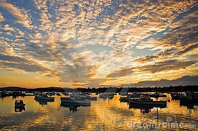 Harbor sunrise and clouds