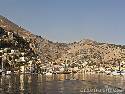 The harbor and the village in the island of Simi