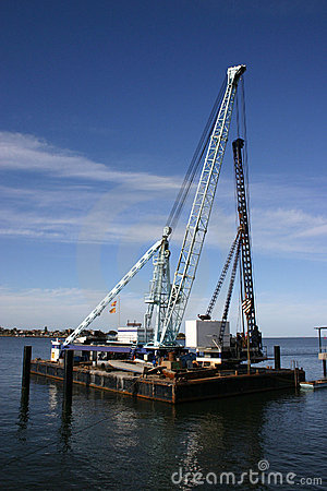 Free Harbour Construction Barge Stock Photo - 3237300