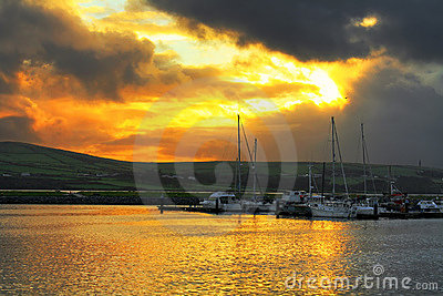 Harbour in Dingle at sunset