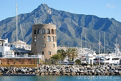 Harbour entrance, Puerto Banus, Marbella, Spain.