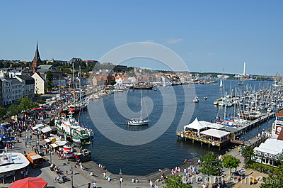 Harbour of the Flensburg fjord in Germany Editorial Stock Image