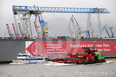 Harbour of Hamburg in Germany Editorial Photography