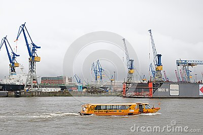 Harbour of Hamburg in Germany Editorial Stock Image
