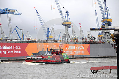 Harbour of Hamburg in Germany Editorial Photo