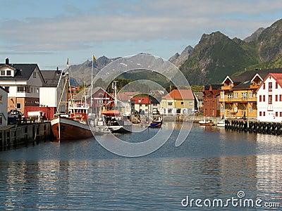 The harbour of Kabelvoag in Lofoten
