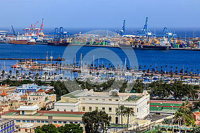 Harbour in Las Palmas de Gran Canaria. Spain Editorial Stock Photo