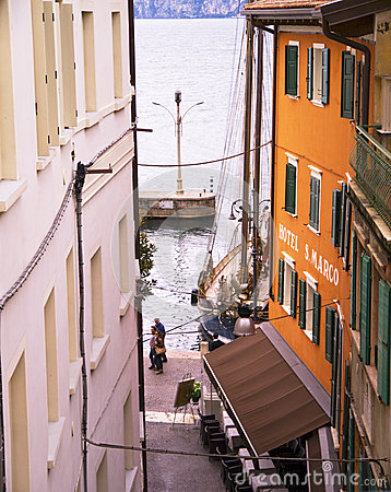 Harbour at Malcesine on Lake Garda in Northern Italy Editorial Image