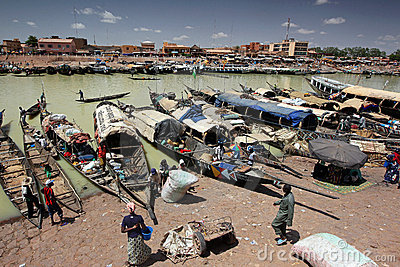 Harbour of Mopti, Mali Editorial Image