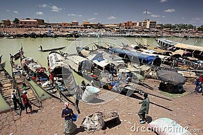 Harbour of Mopti, Mali Editorial Image