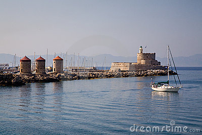 Harbour Windmills & Lighthouse St.Nicholas, Rhodes