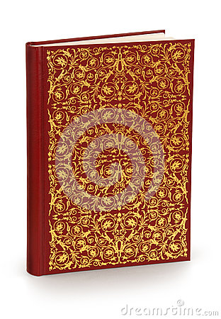 Hard cover book with ornament - clipping path