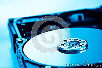 Hard disk in blue light