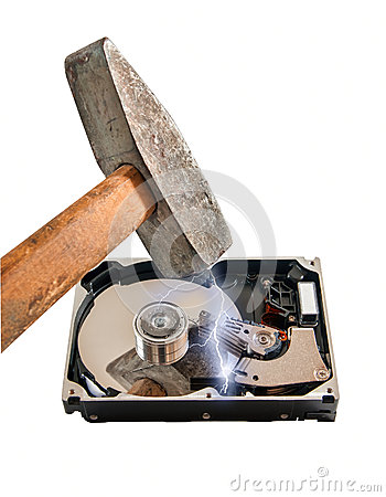 Hard disk break a hammer, on white background