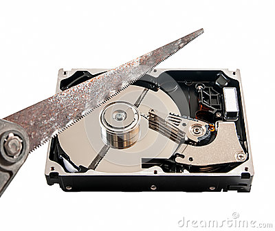 Hard disk cut with a hacksaw, on white background