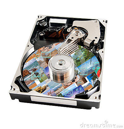 Hard disk detail with media data this on a surface