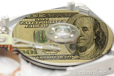 Hard disk drive with US money reflection