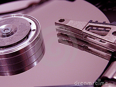 Hard disk opened Stock Photo