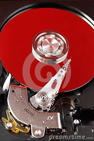 Hard disk and red plate