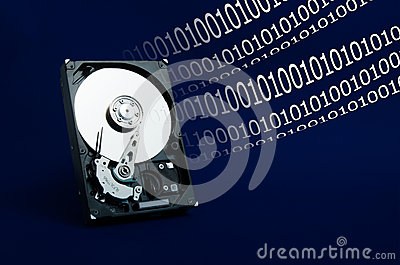 Hard drive on a blue background