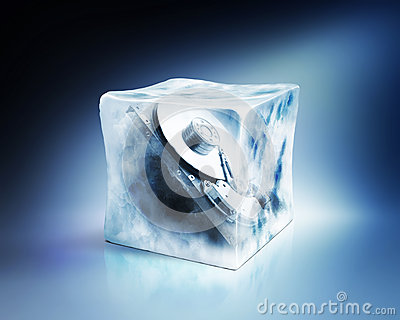Hard drive in ice cube, concept, path included