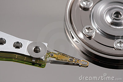 Hard drive needle top view