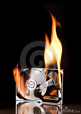 Free Hard Drive On Fire Royalty Free Stock Photography - 4097517