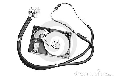 Hard drive and a stethoscope